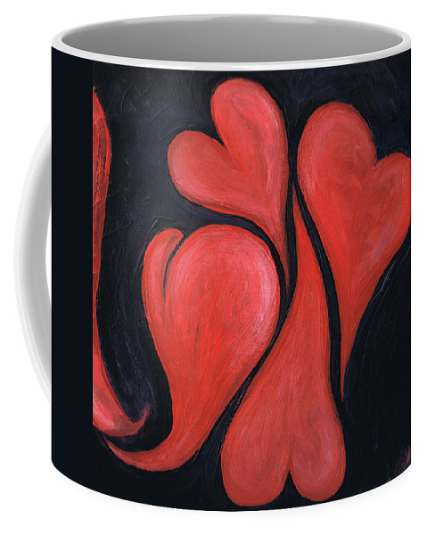 Hearts Coffee Mug featuring the painting Beating Hearts by Nancy Mueller