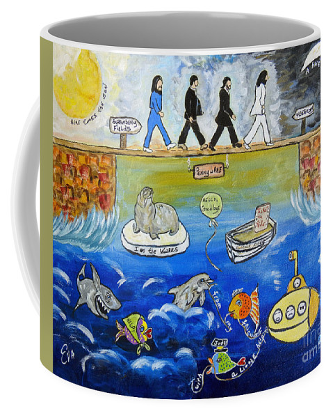 The Beatles Coffee Mug featuring the painting Beatles Song Titles Original Painting Characterization by Ella Kaye Dickey