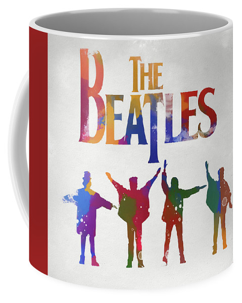 Beatles Watercolor Poster Coffee Mug featuring the painting Beatles Watercolor Poster by Dan Sproul