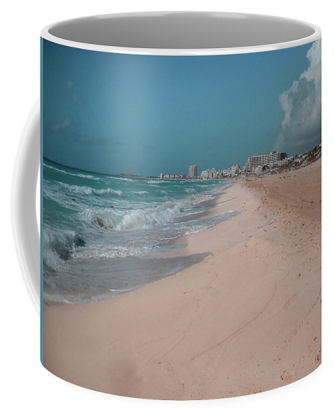 Beach Coffee Mug featuring the digital art Beautiful Beach In Cancun, Mexico by Nicolas Gabriel Gonzalez