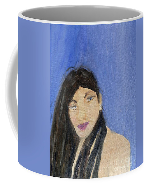 Pamela-meredith Coffee Mug featuring the painting Beautiful Brunette by Pamela Meredith