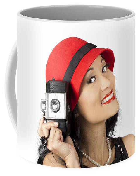 Adventure Coffee Mug featuring the photograph Beautiful Chinese Woman Holding Old Film Camera by Jorgo Photography - Wall Art Gallery