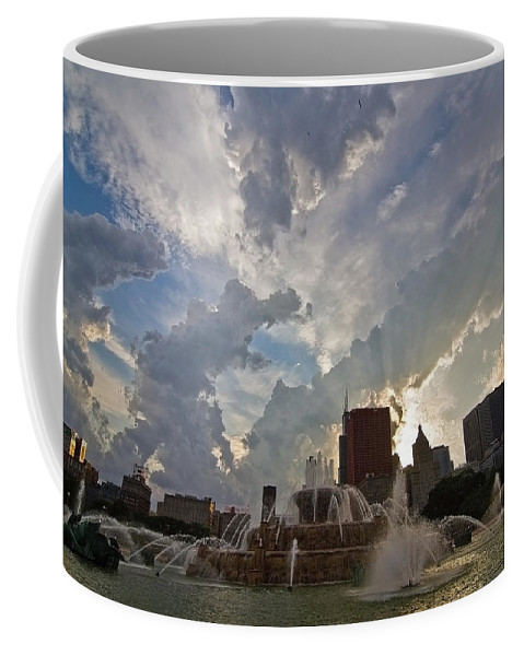 Chicago Skyline Coffee Mug featuring the photograph Beautiful Clouds Over Buckingham Fountain by Sven Brogren