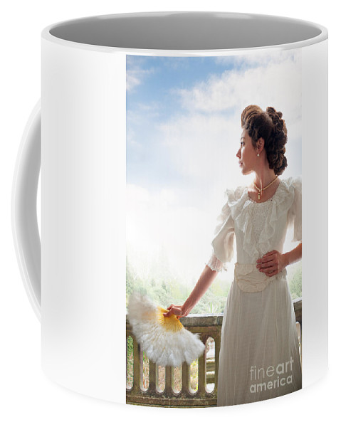 Edwardian Coffee Mug featuring the photograph Beautiful Edwardian Woman In The Garden by Lee Avison