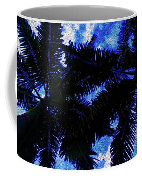 Bautiful Palm In Blue Sky Coffee Mug featuring the digital art Beautiful Palm In Blue Sky by Akin Samuel