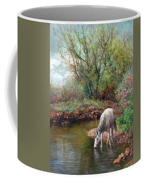 Horse Coffee Mug featuring the painting Beautiful White Horse And Enchanting Spring by Svitozar Nenyuk