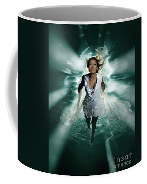 Woman Coffee Mug featuring the photograph Beautiful Woman Diving In The Water by Oleksiy Maksymenko
