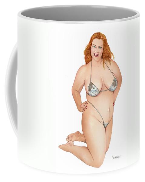 Woman Coffee Mug featuring the drawing Beautiful Woman by Juan Alcantara