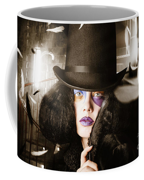 Face Coffee Mug featuring the photograph Beautiful Woman With Dark Hairstyle And Makeup by Jorgo Photography - Wall Art Gallery