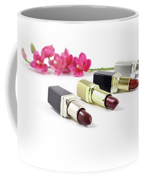 Lipstick Coffee Mug featuring the photograph Beauty And Esthetics Care. Lipsticks And Flowers by Daniel Ghioldi