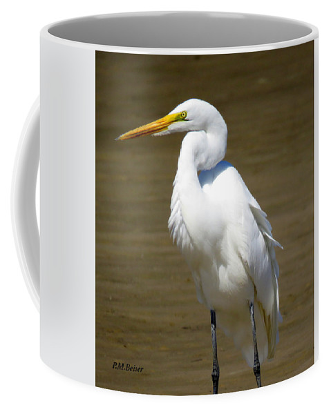 Great Egret Coffee Mug featuring the photograph Beauty And The Beach by Phyllis Beiser