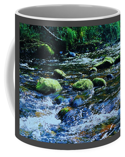 Art From Ireland Water Motion Rocks River Scene Outdoors Travel Wicklow Region Serenity Country Life No One Meditation Flowing Nature Beauty Canvas Print Metal Frame Wood Print Poster Print Available On Pouches Shower Curtains Greeting Cards T Shirts Mugs Tote Bags Phone Cases And Weekender Tote Bags Coffee Mug featuring the photograph Beauty Discovered In The Wicklow Mountains by Marcus Dagan
