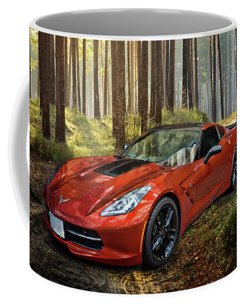C7 Corvette Coffee Mug featuring the digital art Beauty In The Woods by Anita Hubbard