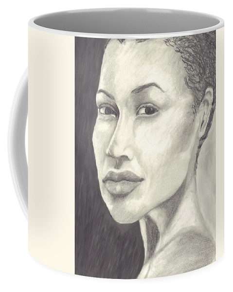 Woman Coffee Mug featuring the drawing Beauty by Jean Haynes