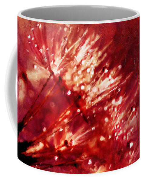 Dandelion Art Coffee Mug featuring the mixed media Beauty Of Fragility by Georgiana Romanovna
