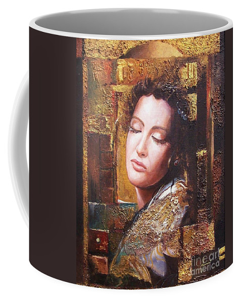 Female Portrait Coffee Mug featuring the painting Because You Are Beautiful by Sinisa Saratlic