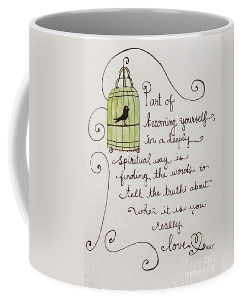 Birdcage Coffee Mug featuring the painting Becoming Yourself by Elizabeth Robinette Tyndall