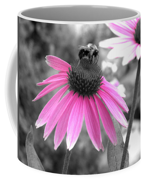 Cone Flower Coffee Mug featuring the photograph Bee And Cone Flower by Brittany Horton