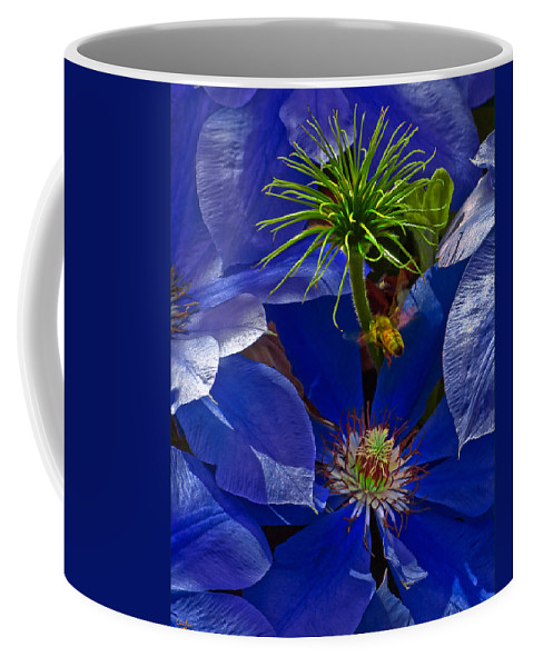 Clematis Coffee Mug featuring the photograph Bee Blues by Chris Lord