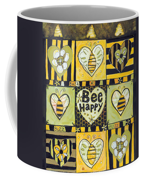 Bee Coffee Mug featuring the painting Bee Happy by Jen Norton