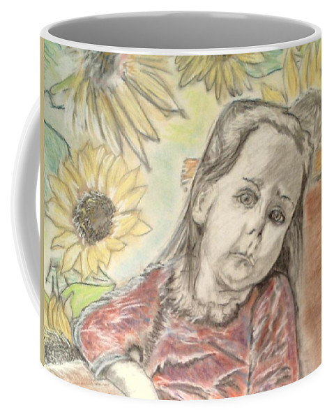Flowers Coffee Mug featuring the drawing Bee In The Flowers by J Bauer