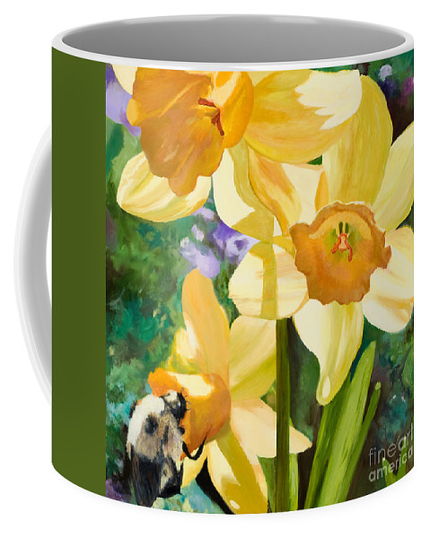 Yellow Daffodils Spring Colors Coffee Mug featuring the painting Bee Open By Marilyn Nolan-johnson by Marilyn Nolan-Johnson