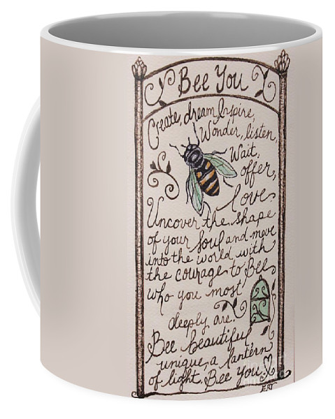 Bee Coffee Mug featuring the painting Bee You by Elizabeth Robinette Tyndall