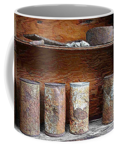 Cans Coffee Mug featuring the photograph Beer Cans On Shelf by Nelson Strong