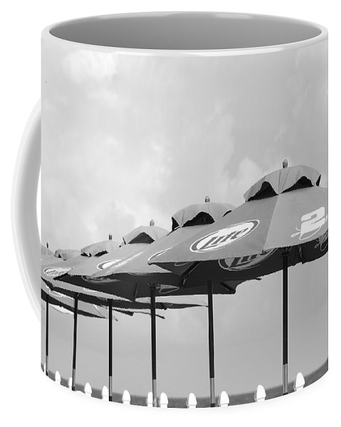 Black And White Coffee Mug featuring the photograph Beer Unbrellas by Rob Hans