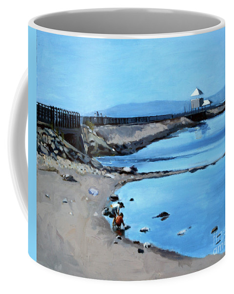 Castle Island Coffee Mug featuring the painting Before The Fog At Castle Island by Deb Putnam