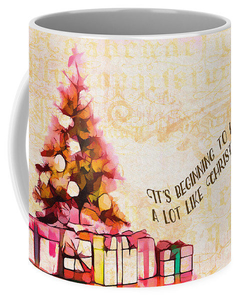Holiday Coffee Mug featuring the digital art Beginning To Look Like Christmas Card 2017 by Kathryn Strick