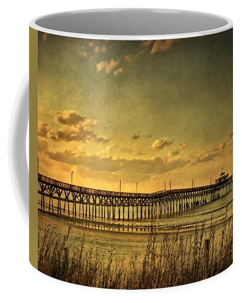Cherry Grove Coffee Mug featuring the photograph Behind Cherry Grove Pier by Trish Tritz