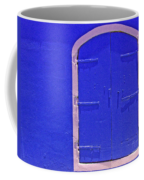 Door Coffee Mug featuring the photograph Behind The Blue Door by Debbi Granruth