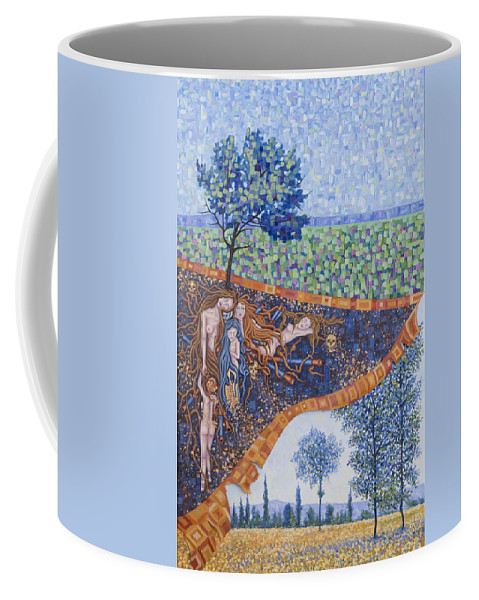 Canvas Coffee Mug featuring the painting Behind The Canvas by Judy Henninger
