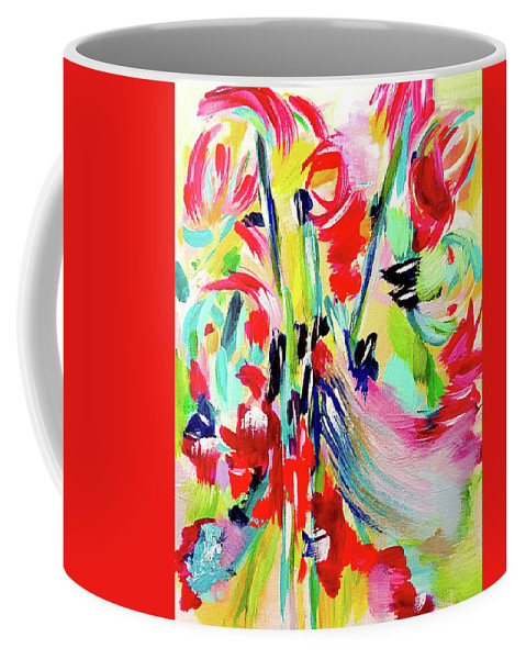 Abstract Red Cobalt Blue Turquoise Pink Yellow Green Moving Energetic Happy Cobalt Blue Black Magenta Gifts Christmas Birthdays Lime Green Seafoam Aqua Colorful Floral Abstract Uplifting Summery Coffee Mug featuring the digital art Behind The Drive In by Susan Skelley