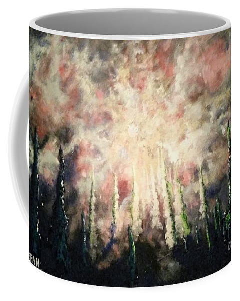 Trees Coffee Mug featuring the painting Behind The Light by Stefan Duncan