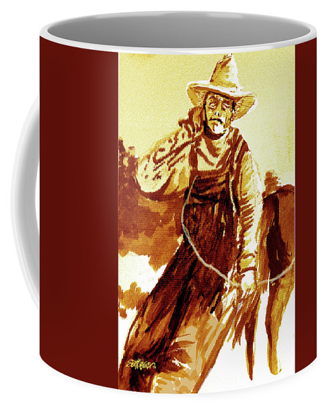 Tobacco Coffee Mug featuring the mixed media Behind The Plow by Seth Weaver
