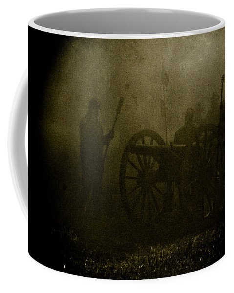 Civil War Re-enactment Coffee Mug featuring the photograph Behind the Smoke by Kim Henderson