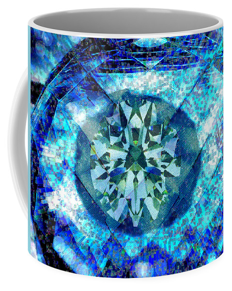 Abstract Coffee Mug featuring the digital art Behold The Jeweled Eye by Seth Weaver