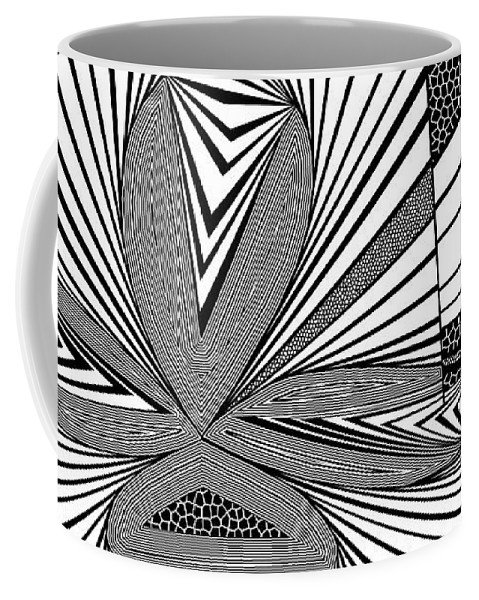 Dynamic Black And White Coffee Mug featuring the painting Beige Marketeer by Douglas Christian Larsen
