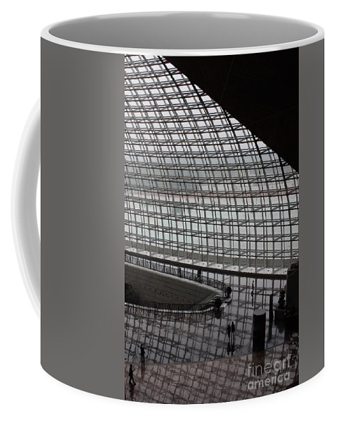 Beijing Coffee Mug featuring the photograph Beijing National Theatre With Silhouettes by Carol Groenen