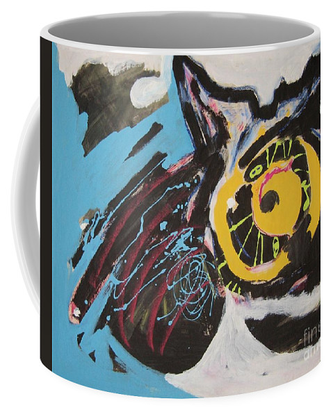 Abstract Cat Paintings Coffee Mug featuring the painting Being Lazy by Seon-Jeong Kim