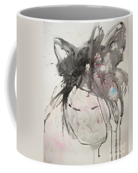 Black And White Paintings Coffee Mug featuring the painting Being Patient by Seon-Jeong Kim