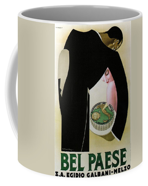 Bel Paese Coffee Mug featuring the mixed media Bel Paese - Melzo, Italy - Vintage Cheese Advertising Poster by Studio Grafiikka