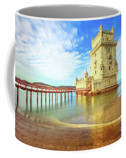 Lisbon Coffee Mug featuring the photograph Belem Tower Reflects by Benny Marty