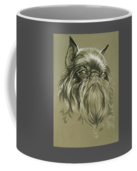 Toy Group Coffee Mug featuring the drawing Belgian Griffon In Charcoal by Barbara Keith