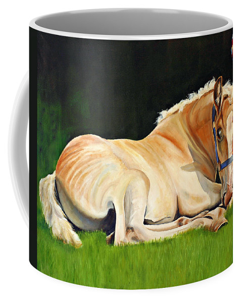Belgian Coffee Mug featuring the painting Belgian Horse Foal by Toni Grote
