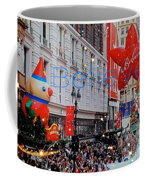 Macy's Thanksgiving Parade Coffee Mug featuring the digital art Believe Macys Parade by Pamela Smale Williams