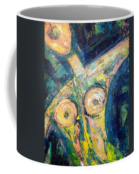 Nude Coffee Mug featuring the painting Bell Bottom Blues by Kathy Augustine