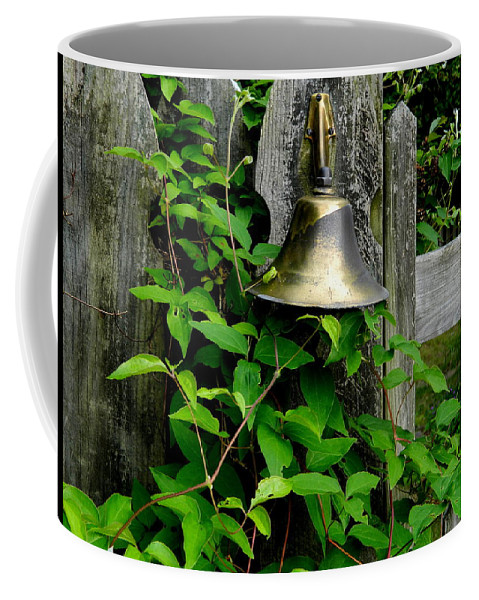 Gate Coffee Mug featuring the photograph Bell On The Garden Gate by Arlane Crump